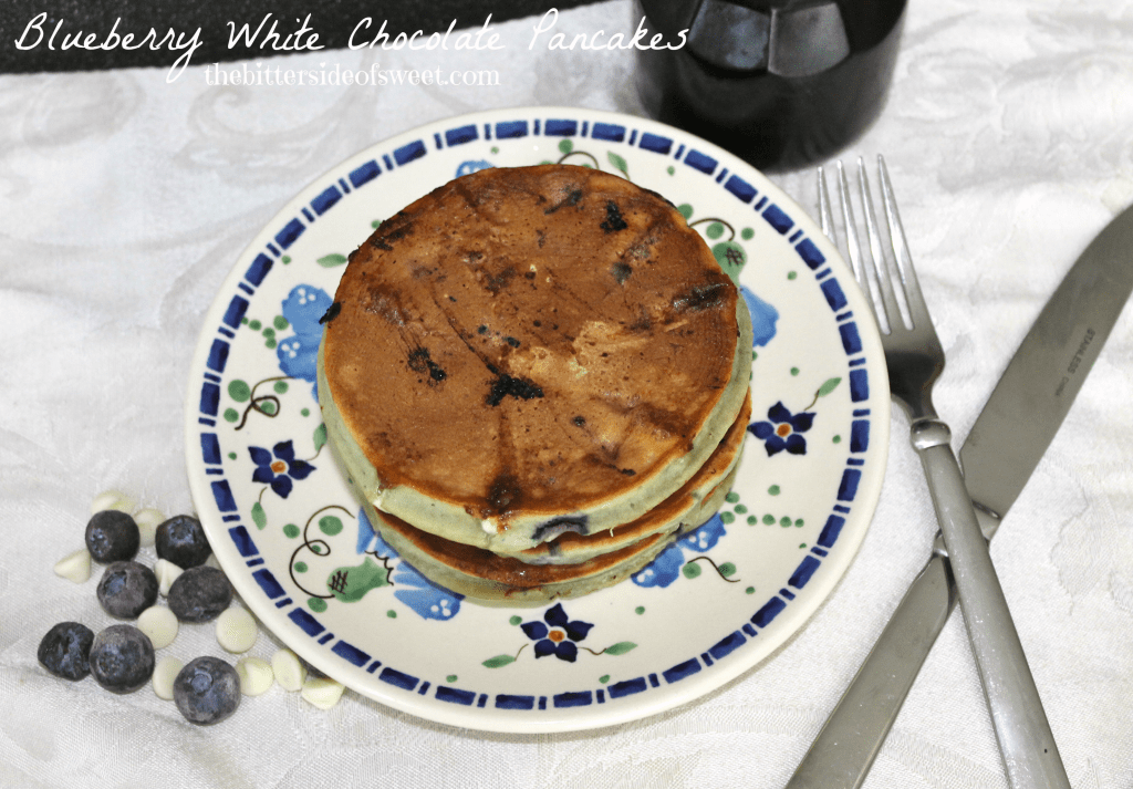 Blueberry White Chocolate Pancakes via thebittersideofsweet