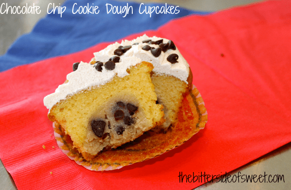 Chocolate Chip Cookie Dough Cupcakes | thebittersideofsweet.com