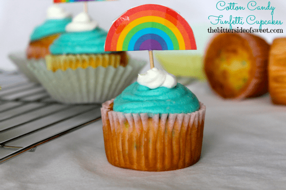Cotton Candy Funfetti Cupcakes | thebittersideofsweet.com