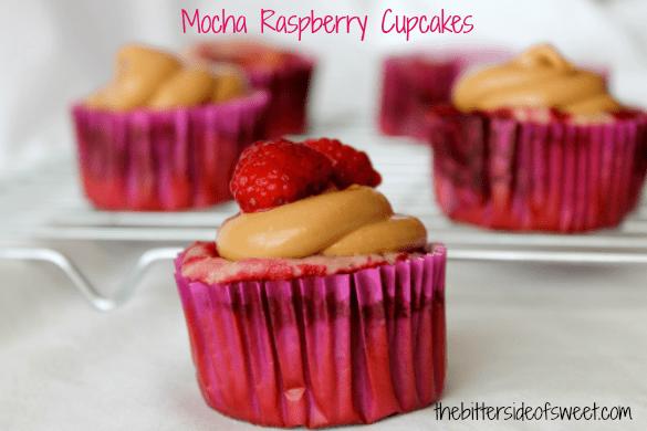 Mocha Raspberry Cupcakes | thebittersideofsweet.com #cupcakes #duncanhines #greekyogurt #raspberry #mocha