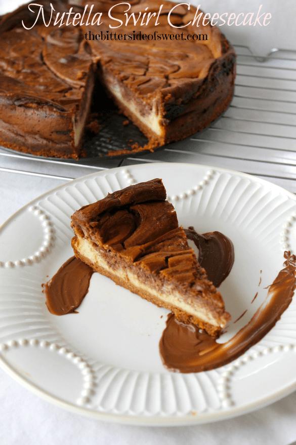 Nutella Swirl Cheesecake via thebittersideofsweet