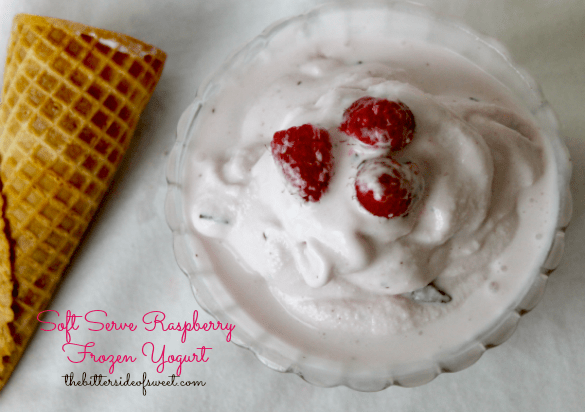 Soft Serve Raspberry Frozen Yogurt via thebittersideofsweet