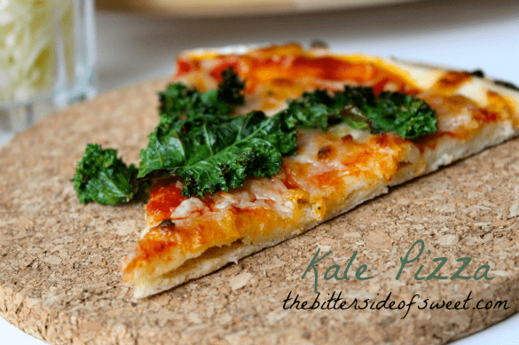 Kale Pizza   thebittersideofsweet.com #healthy #kale #pizza #dinner #redstar