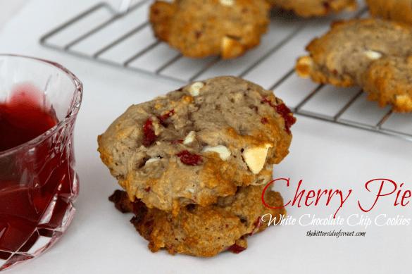 Cherry Pie White Chocolate Chip Cookies | thebittersideofsweet.com #cherrypie #cookies #greekyogurt#luckybakes
