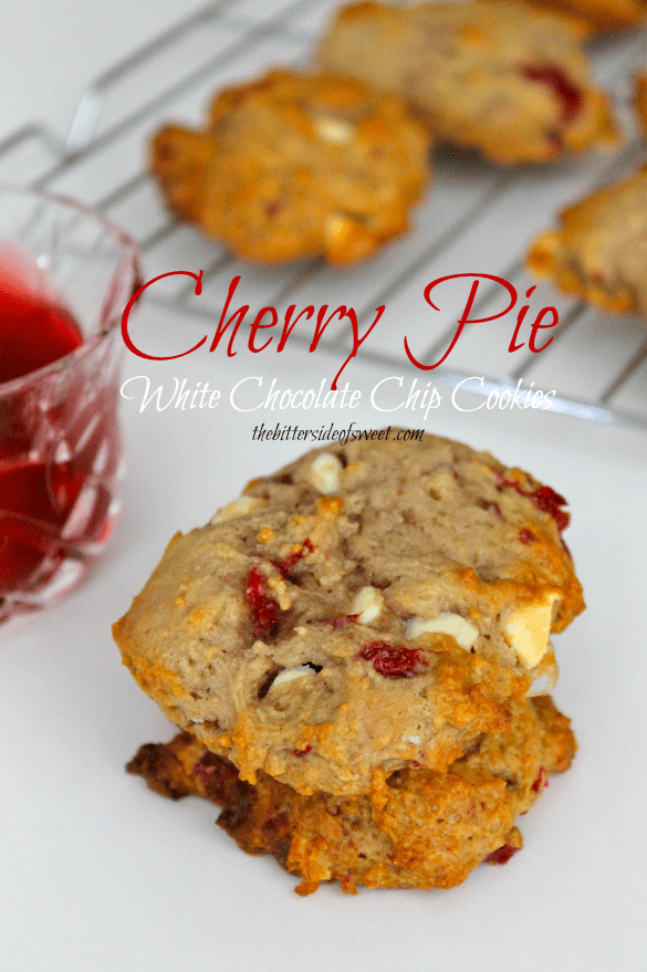 Cherry Pie White Chocolate Chip Cookies | thebittersideofsweet.com #cherrypie #cookies #greekyogurt#luckybakes