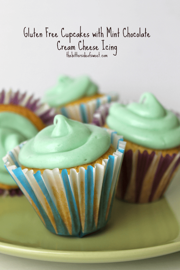 Gluten Free Cupcakes with Mint Chocolate Cream Cheese Icing | thebittersideofsweet.com #glutenfree #cupcakes #mintchocolate