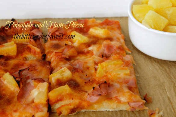 Pineapple and Ham Pizza | thebittersideofsweet.com #pizza #pineapple #dinner #quickrise