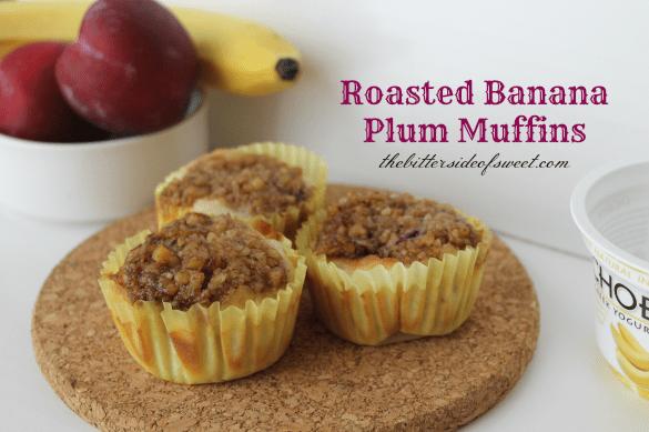Roasted Banana Plum Muffins | thebittersideofsweet.com #muffins #chobani #bananas