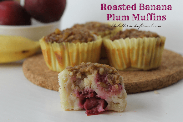 Roasted Banana Plum Muffins 4