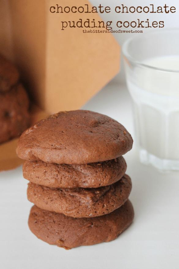 chocolate chocolate pudding cookies | thebittersideofsweet.com #pudding #cookie #chocolate