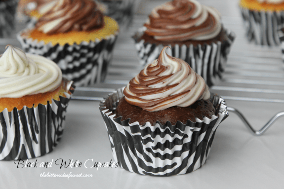 Beautifully made Black and White Cupcakes using boxed cake mixes and canned frosting! | thebittersideofsweet.com #cupcakes #cakemix #dessert #greekyogurt