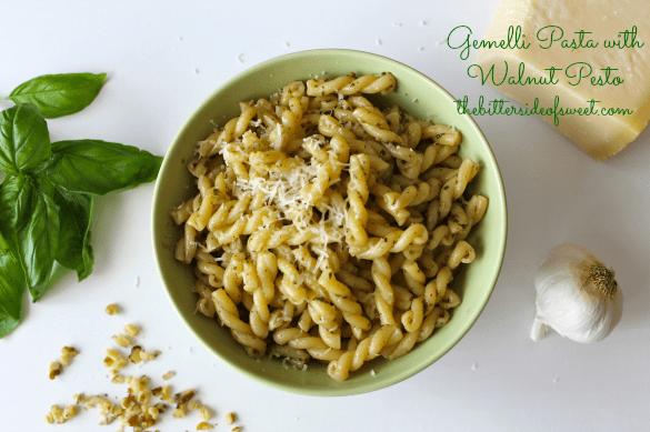 Gemelli Pasta with Walnut Pesto | thebittersideofsweet.com #pesto #pasta #italian #dinner