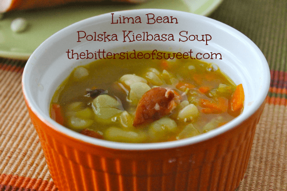 Hearty, warm soup perfect for any day of the week meal! Lima Bean Polska Kielbasa Soup thebittersideofsweet.com # soup #kielbasa #dinner