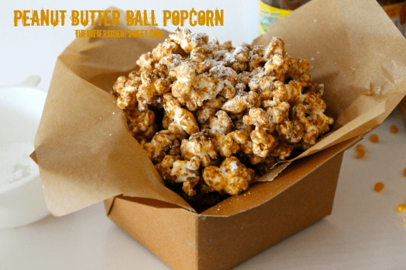 Peanut Butter Ball Popcorn thebittersideofsweet.com #popcornweek #snack #peanutbutter