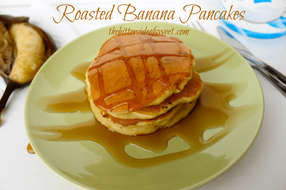 Roasted Banana Pancakes | thebittersideofsweet.com #pancakes #greekyogurt #bananas
