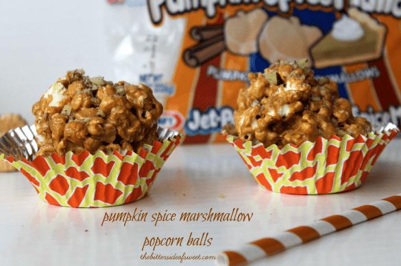 Festive Ooey Gooey Pumpkin Spice Marshmallow Popcorn balls | thebittersideofsweet.com #popcornweek #popcorn #pumpkin