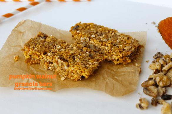Pumpkin Walnut  Granola Bars | thebittersideofsweet.com #pumpkin #nobake #granola #walnuts
