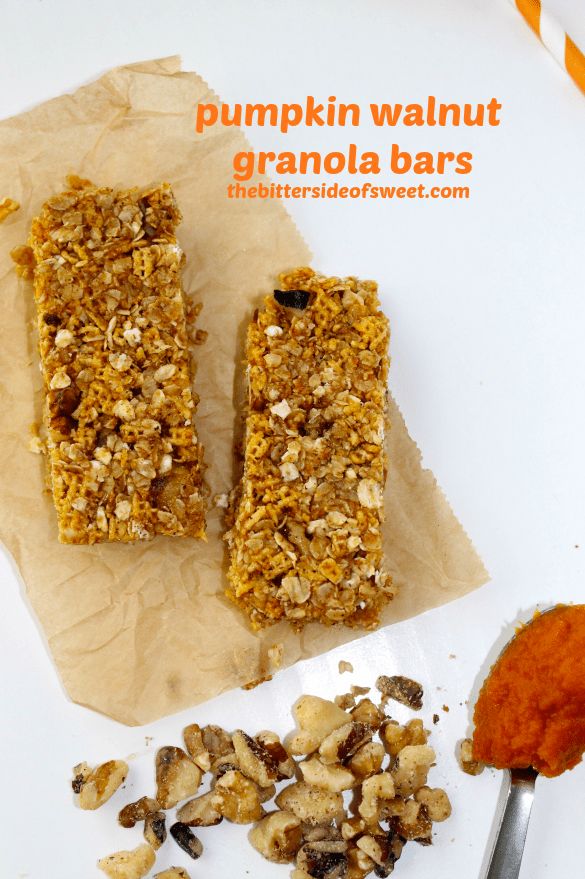 ... out a can of pumpkin and made these Pumpkin Walnut Granola Bars
