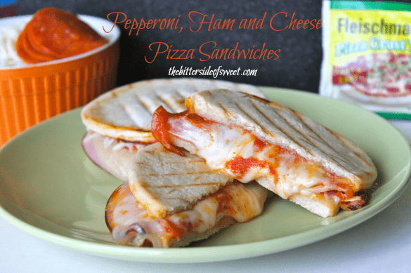 Pepperoni, Ham and Cheese Pizza Sandwiches |thebittersideofsweet.com #pizza #BakingADifference