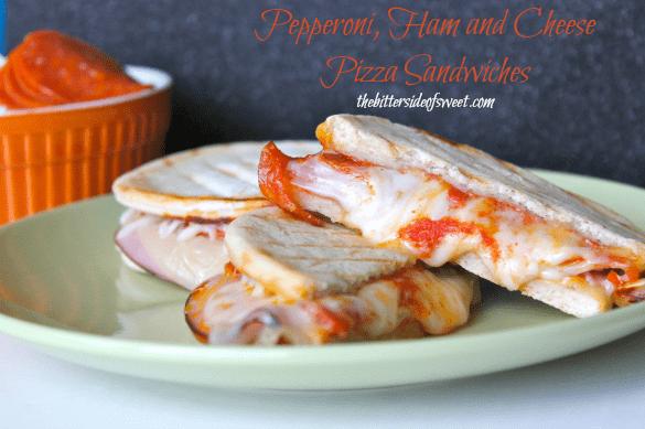 Pepperoni, Ham and Cheese Pizza Sandwiches |thebittersideofsweet.com #pizza #BakingADifference
