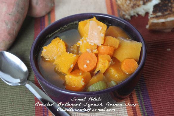 Sweet Potato Roasted Butternut Squash Quinoa Soup | thebittersideofsweet.com | #soup #fall #squash