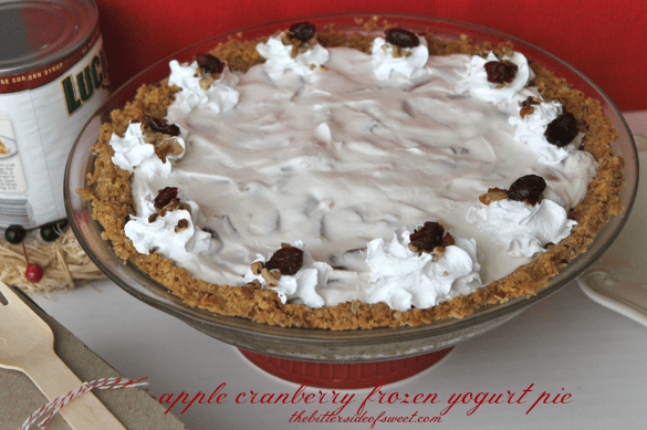 apple cranberry frozen yogurt pie thebittersideofsweet.com #Lucky13 #pie #sponsored