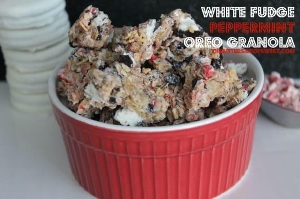 white fudge Peppermint oreo granola | thebittersideofsweet.com