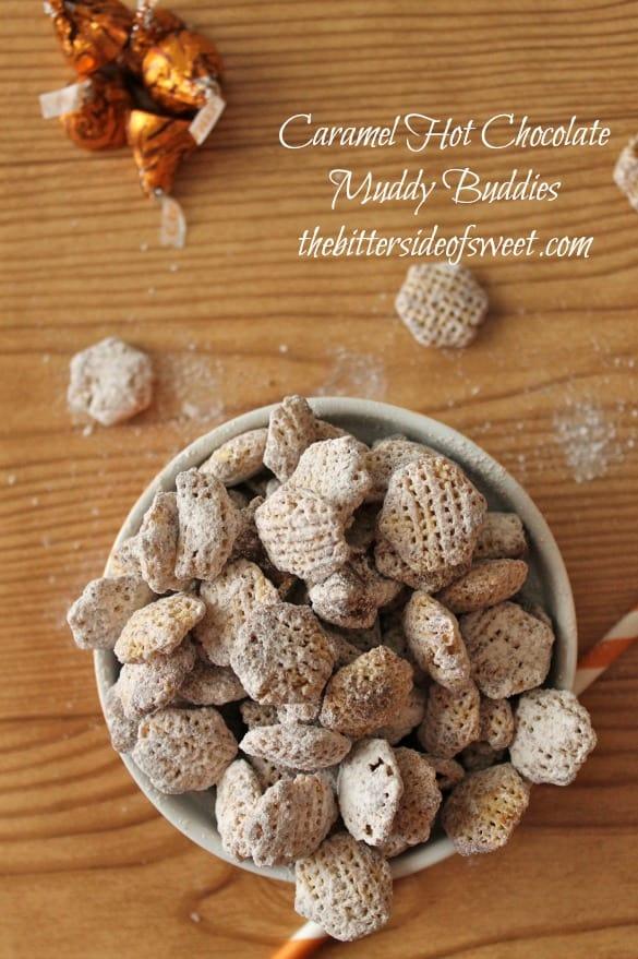 Caramel Hot Chocolate Muddy Buddies | thebittersideofsweet.com