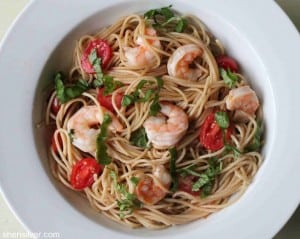 Pasta with Shrimp, Tomatoes and Lemon Vinaigrette