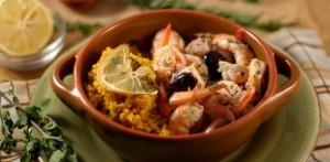 baked shrimp saffron couscous