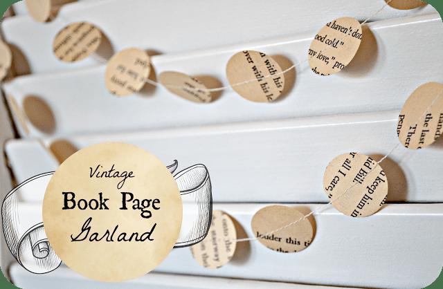vintage book page garland