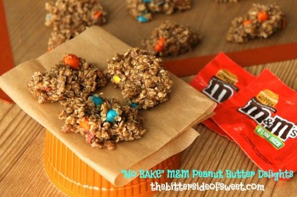 No BAKE M&M Peanut Butter Delights | thebittersideofsweet.com