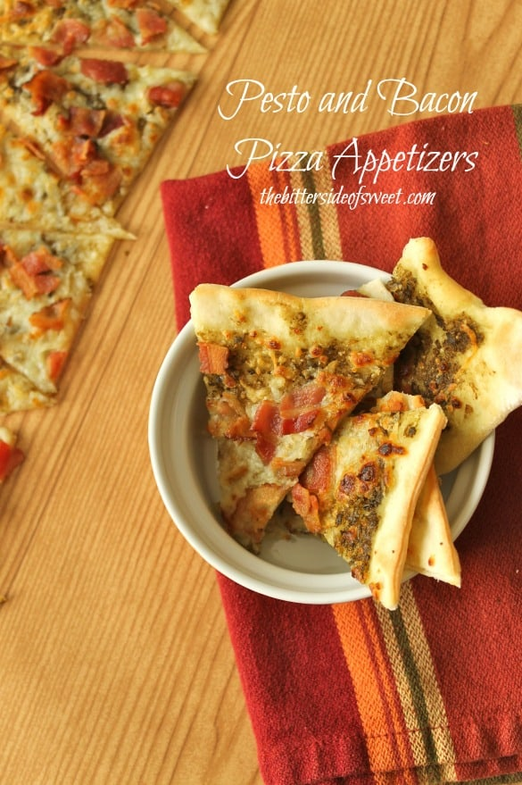 Pesto and Bacon Pizza Appetizers |thebittersideofsweet.com
