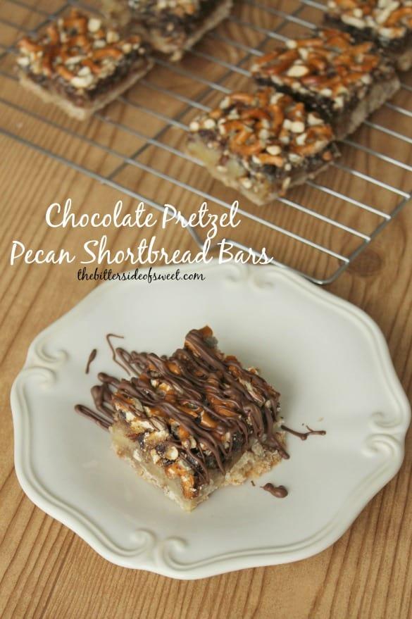 Chocolate Pretzel Pecan Shortbread Bars | thebittersideofsweet.com