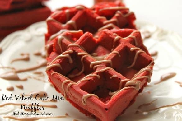Red Velvet Cake Mix Waffles| thebittersideofsweet.com