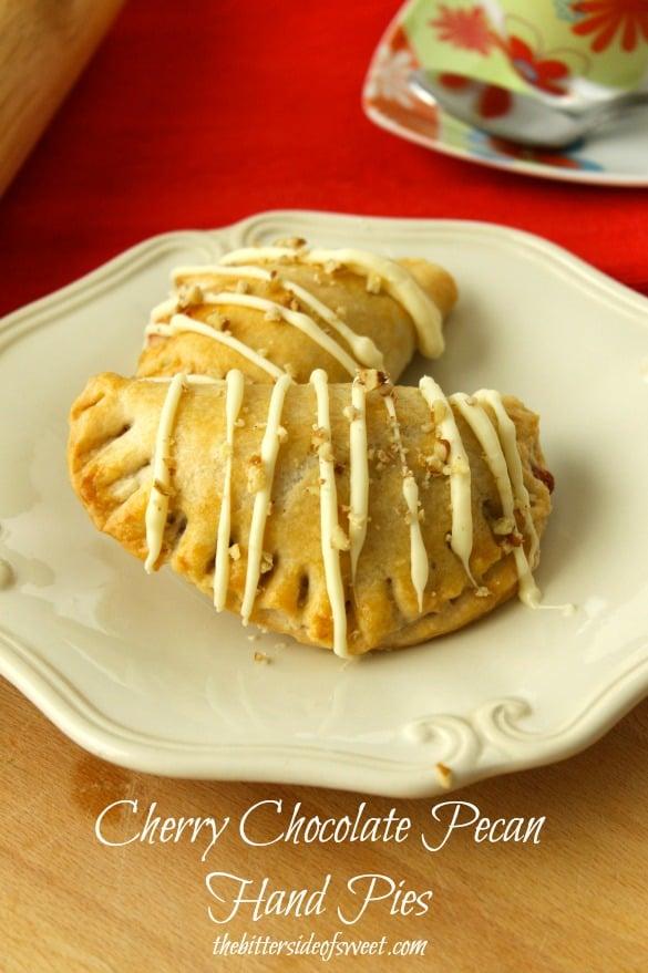 Cherry Chocolate Pecan Hand Pies | thebittersideofsweet.com #piday #desserts