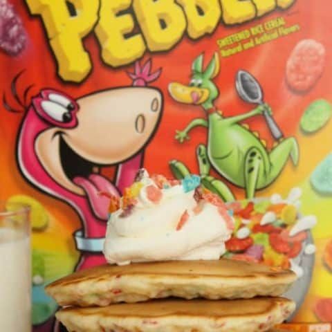 Fruity Pebbles Pancakes with Vanilla Whipped Cream