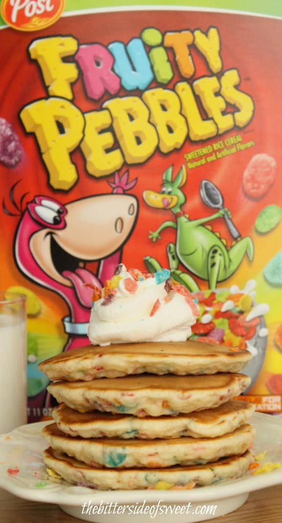 Fruity Pebbles Pancakes with Vanilla Whipped Cream | thebittersideofsweet.com #PostWalgreens #pmedia
