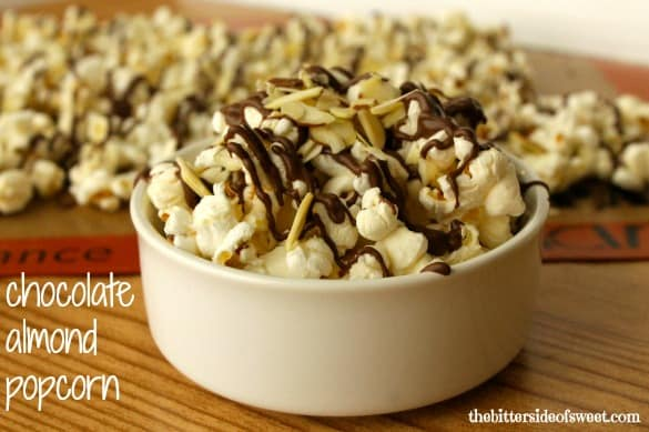 Chocolate Almond Popcorn | thebittersideofsweet.com..