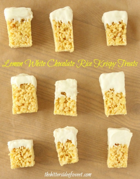 Lemon White Chocolate Rice Krispy Treats | thebittersideofsweet.com #dessert #ricekrispytreats #lemon #pudding