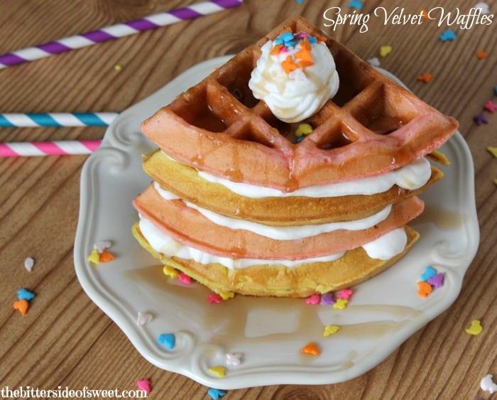 Spring Velvet Waffles | thebittersideofsweet.com