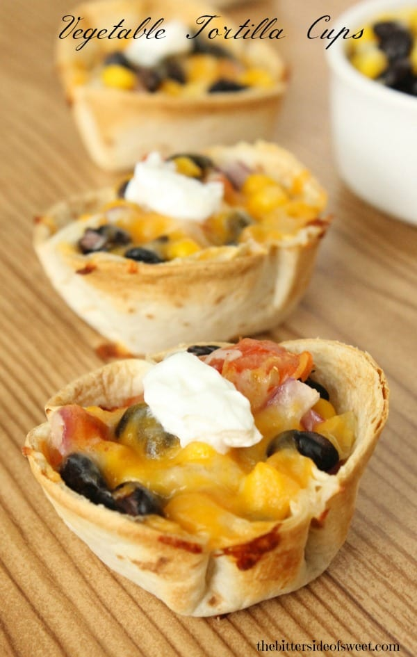 Vegetable Tortilla Cups | thebittersideofsweet.com #vegetarian #mexican #food