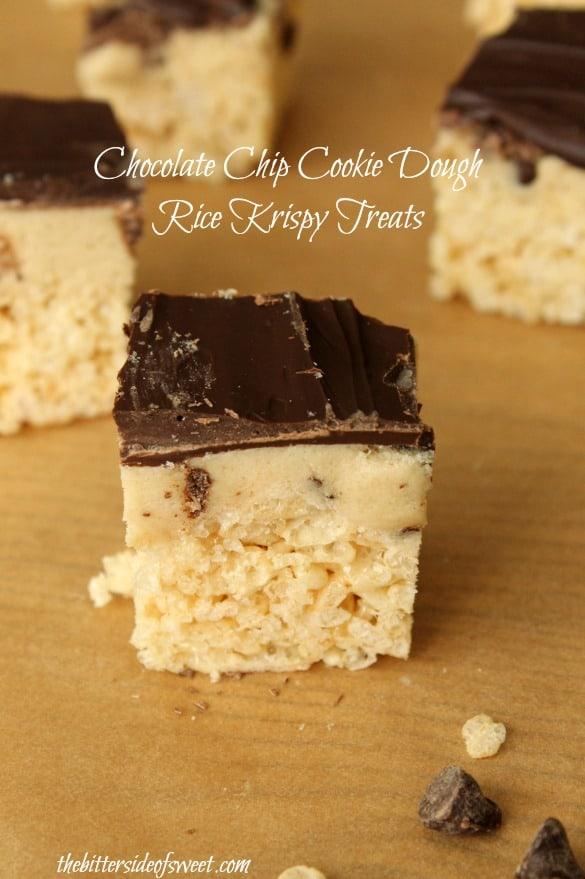 Chocolate Chip Cookie Dough Rice Krispy Treats | thebittersideofsweet.com