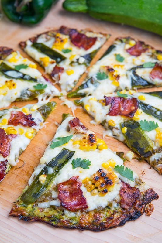 Grilled Corn, Roasted Poblano and Bacon Zucchini Crust Pizza 800 5778