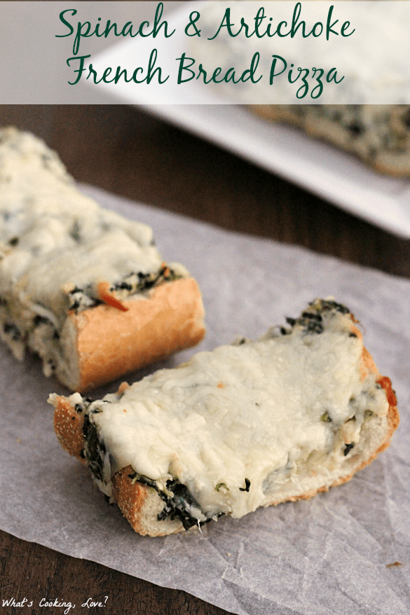 Spinach and Artichoke French Bread Pizza5text
