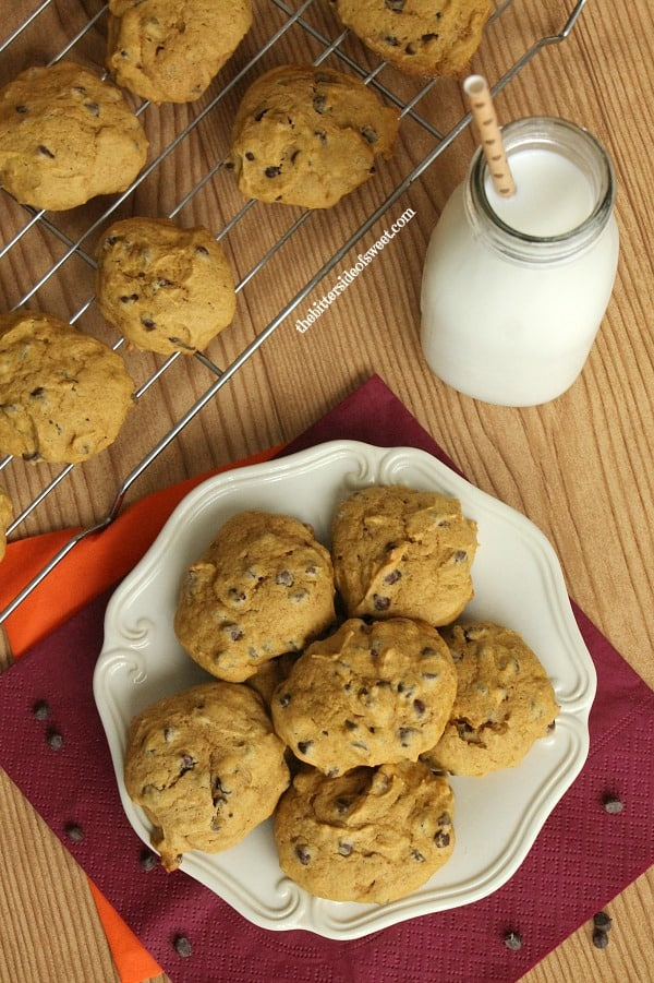 Jump right into fall baking with these Chocolate Chip Pumpkin Cookies! | thebittersideofsweet.com