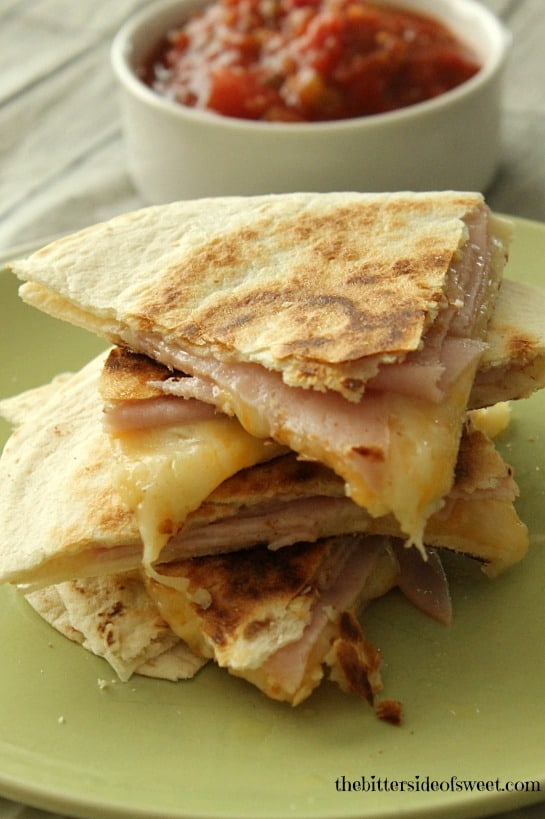 Ham and Cheese Quesadillas for one. Perfect for a quick lunch or snack. | thebittersideofsweet.com