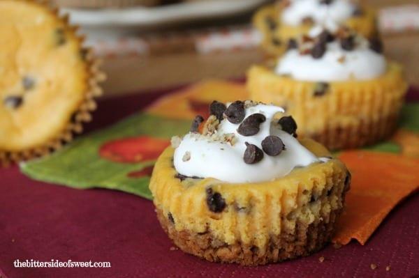 Chocolate Chip Pumpkin Cheesecake Bites | thebittersideofsweet.com