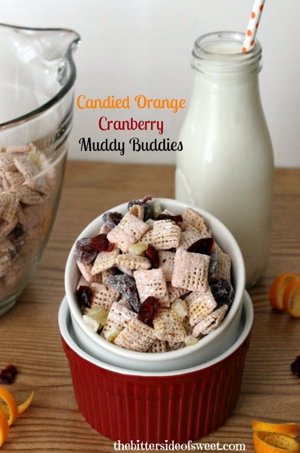 Candied Orange Cranberry Muddy Buddies | thebittersideofsweet.com