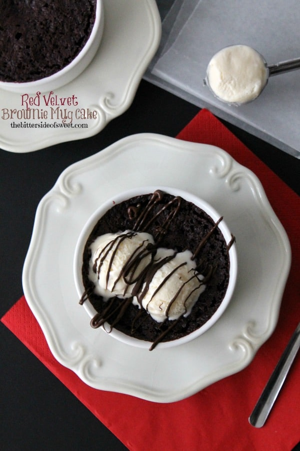 Red Velvet Brownie Mug Cake - The Bitter Side of Sweet